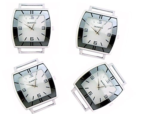 Geneva Face Ribbon Watch - PlanetZia 2pcs Fancy Rectangle Ribbon Watch Faces for Your Interchangeable Beaded Bands TVT-4587 (White Paint)