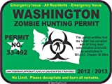 Washington zombie hunting permit decal bumper sticker