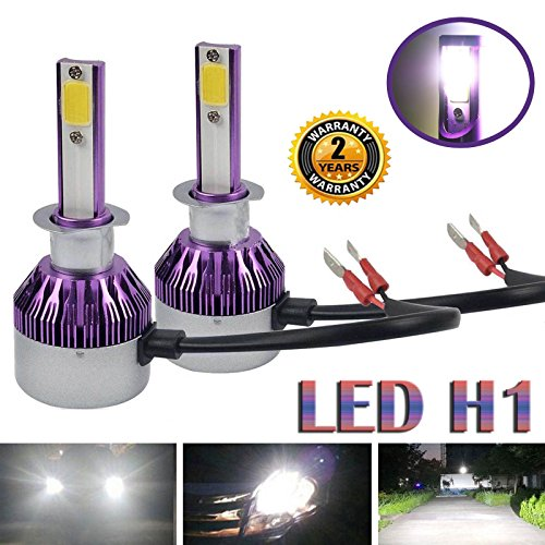 H1 LED Headlight 2018 Newest Design COB Conversion Kit High or Low Beam Bulbs Super Bright 6000K Pure White Energy Saving 12000LM - 3 Year Warranty