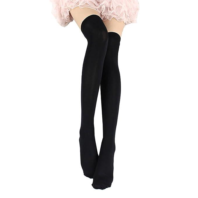 5b983b0048ff1 ONEFIT Women's Velvet Silk Thigh High Stockings Overknee Socks Black ...