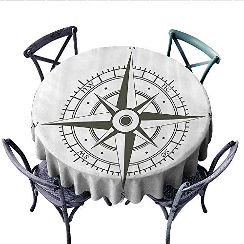 Compass Decor Collection Dinner Picnic Table Cloth Wind Rose Old Fashion Navigational Equipments Orienteering Illustration Print Round Wrinkle Resistant Tablecloth (Round, 70 Inch, Gray White)