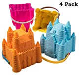 """Top Race Sand Castle Pail Buckets, Beach Pails, Sand Mold Pails, 8"""" Inch Pack of 4"""