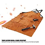 QeeLink Leather Welding Apron with 6 Pockets - Heat