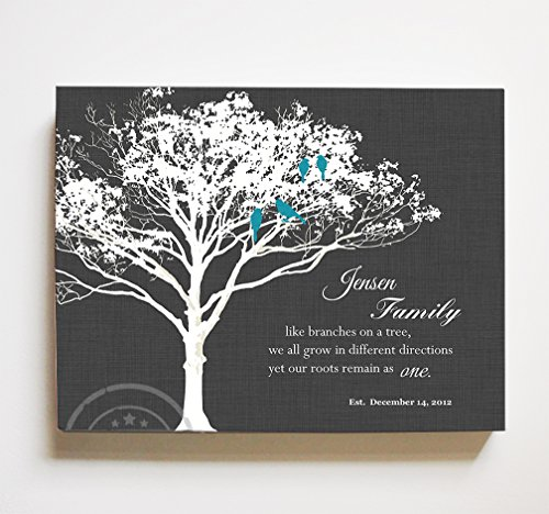 MuralMax Personalized Family Tree & Lovebirds, Stretched Canvas Wall Art, Make Your Wedding & Anniversary Gifts Memorable, Unique Wall Décor - Charcoal - Size 10 x (Love Birds Wedding Invitation)
