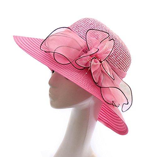HUAMULAN Women Foldable Floppy Wide Large Brim Sun Hats Big Bowknot Beach Cap Striped UPF 50+ (Big Pink Hat)