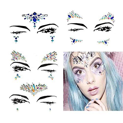 4 Sets Mermaid Face Gems Rhinestone Tattoo Festival Jewels Eyes Face Body Temporary Tattoos Glitter Temporary Tattoo Bindi Crystals Rainbow Tears Stickers -