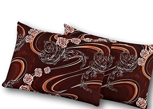 (Tache Paisley Brown Floral Pillowcase - Melted Gold - Microfiber Luxurious Decorative Standard/Queen 20x30 Pillow Case - 2 Piece Set)
