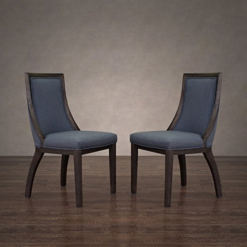 Park Avenue Austria Navy Linen Dining Chair (Set of 2) by I Love Living