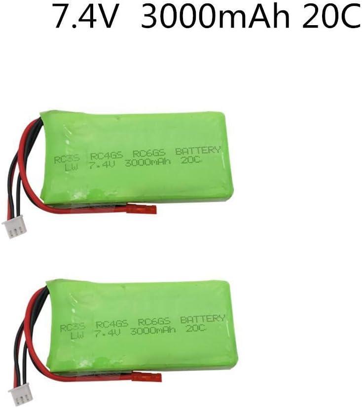 Nubry Batteria lipo da 7,4 V 3000 mAh, per Batteria RC3S RC4GS RC6GS Batteria ai polimeri di Litio 2S Batteria Lipo 7,4 v 3000 mAh 3PCS 3pcs