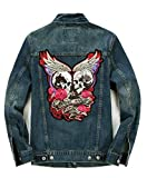 Feissan Skull Repair Motorcycle Riding Denim Jacket Angel Devil Embroidered Single-Breasted Collar Blue XXXL