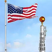 YesHom 30 ft Flag Pole Kit Telescopic 16 Gauge Aluminum Flagpole Free 3'x5' US Flag & Ball Fly 2 Flags