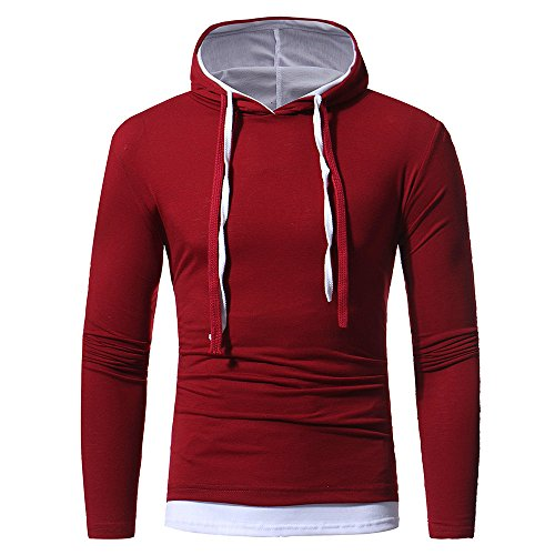 iYBUIA Clearance Autumn Winter Men's Cotton Long Sleeve Hoodie Hooded Sweatshirt Tops Blouse(Wine ,M) -