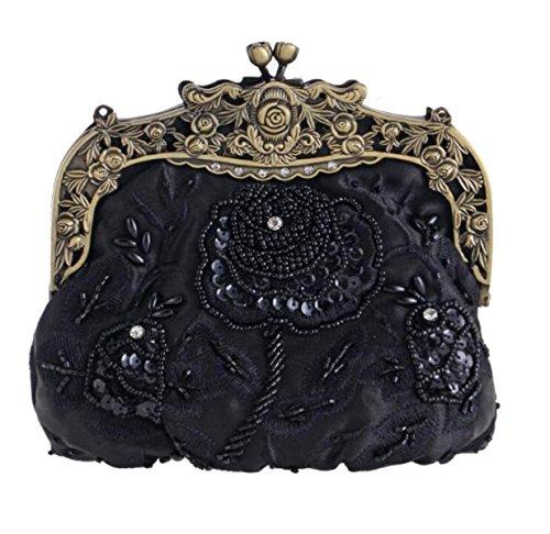 Retro Cara De Seda Bordado Bolso De Noche Clásico Cheongsam Bolso Nupcial Moda Moldeado Vestido Black