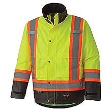 Pioneer V1200260-L Heavy-Duty Waterproof Reflective Safety Jacket, Multiple Ventilation Panels, Green, Large