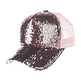 Challyhope Clearance! Shiny Glitter Sequins Mesh Cap Splicing Baseball Hat Fashion Unisex Cap Hip Hop Trucker Hat Adjustable