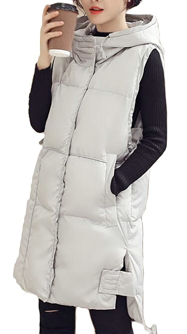 BU2H Womens Stylish Long Down Vest Puffer Lightweight Down Jacket Coat