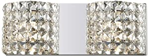 Z-Lite 867-2V Panache Two Light Crystal Vanity Light, Metal Frame, Chrome Finish and Crystal Shade of Crystal Material