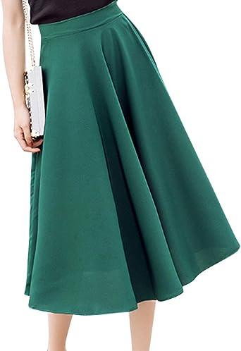 Mujer Faldas Midi Color Sólido Cintura Alta Falda Plisada Vestidos ...
