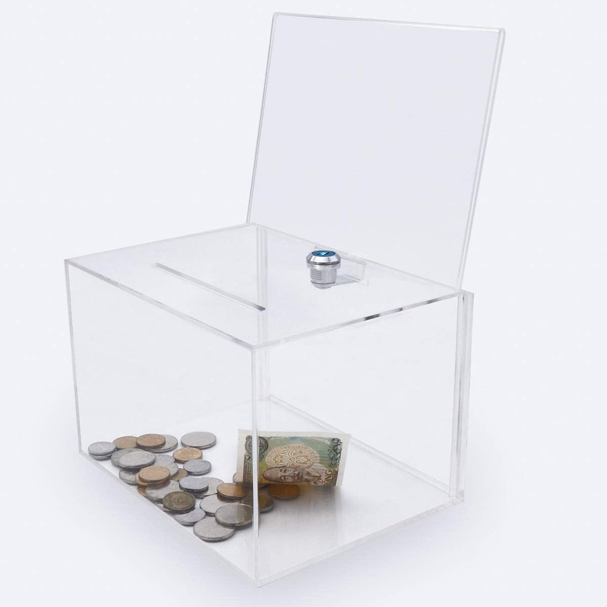 Caja de donación de acrílico con cerradura, urna con soporte para ...