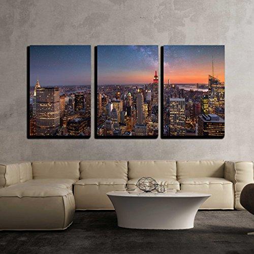 Milky Way over Manhattan New York City x3 Panels