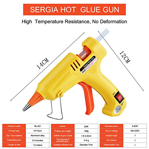 Hot Glue Gun Kit with 20 Pcs Glue Sticks, Mouse Pad, Anti-Hot Cover,Portable case for DIY Small Projects, Craft and Arts & Home Or School Quick Repair Sealing Use, Christmas Decoration/Gift (20 Watt) by SERGIA (Image #1)