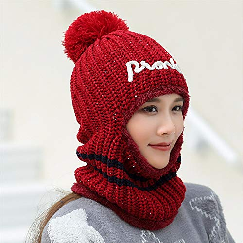 Gxinyanlong Winter hat, Female, Ear Protection, hat, Flannel, Thickening, Warmth, Baotou Cap Knitted Cap,Gules ()