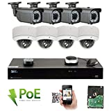 GW 8 Channel 4K NVR 5MP Video Security Camera System - 4 x Bullet & 4 x Dome 5MP 1920P Weatherproof 2.8-12mm Varifocal Cameras, Realtime Recording 1080p @ 30fps, Pre-Installed 3TB HDD