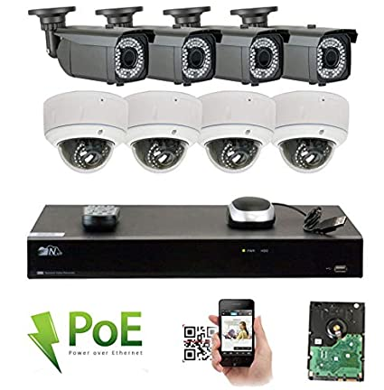 GW 8 Channel 4K NVR 5MP Video Security Camera System - 4 x Bullet & 4
