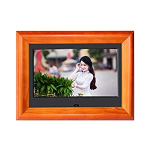 Digital Picture Frame SZSUPER 7 inch Digital Photo Frame with Widescreen LCD Calendar/Clock Function Video Player with Remote Control Wood Digital Frame (Black)