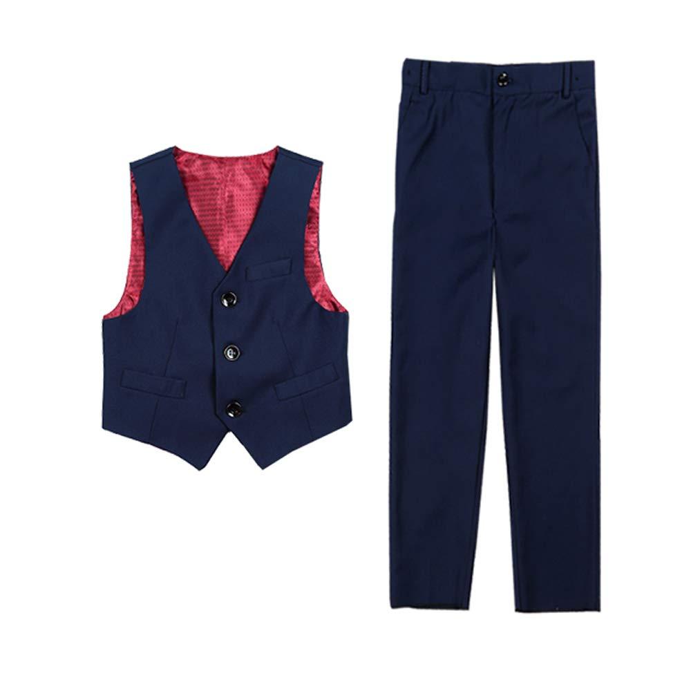 Yanlu Kids Formal Suit Boy's Vest Set Dress Pants First Communion Clothes Blue Size 8
