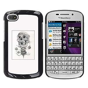 Shell-Star Arte & diseño plástico duro Fundas Cover Cubre Hard Case Cover para BlackBerry Q10 ( Skull Rose Biker Poster Black White )