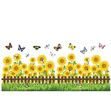Amazon.com: Kicode Blooming Sunflower Butterfly Wall Decal Sticker ...