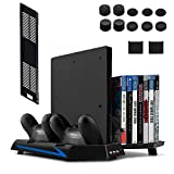 PS4 Stand, Keten Vertical Stand for PS4/ Slim with Cooling Fan and Controller Charger Station, PS4 Slim Stand for PlayStation 4 Console Dualshock 4 (Not for PS4 Pro)