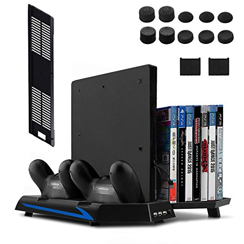 [Newest Version] Keten Vertical Stand for PS4 Slim / PS4 with Cooling Fan 2 in 1 Controller Charging Station and Game Storage, 3 Port USB Hub and Dualshock Charger (Not for PS4 Pro)