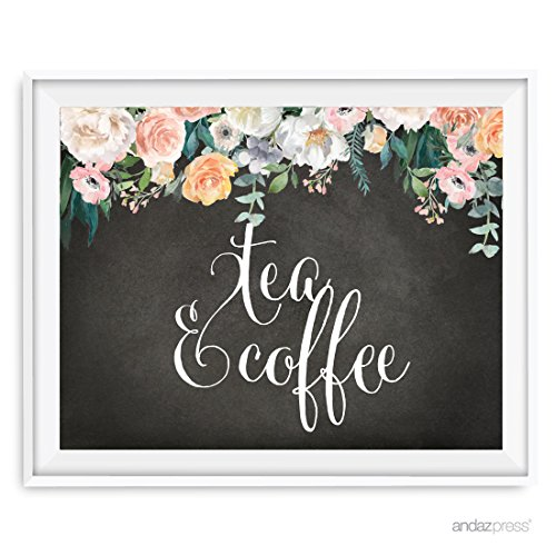 Andaz Press Peach Chalkboard Floral Garden Party Wedding Collection, Party Signs, Tea & Coffee Reception Dessert Table Sign, 8.5x11-inch, 1-Pack