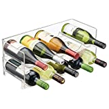 mDesign Stackable Wine and Water Bottle Rack for Kitchen Countertops, Pantry, Fridge - Pack of 2, Clear