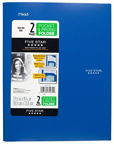 """043100340300 - Five Star Pocket Folder, 2 Pocket Stay-Put Plastic Folder, 11-5/8"""" x 9-5/16"""", Color Selected For You May Vary (34030) carousel main 0"""