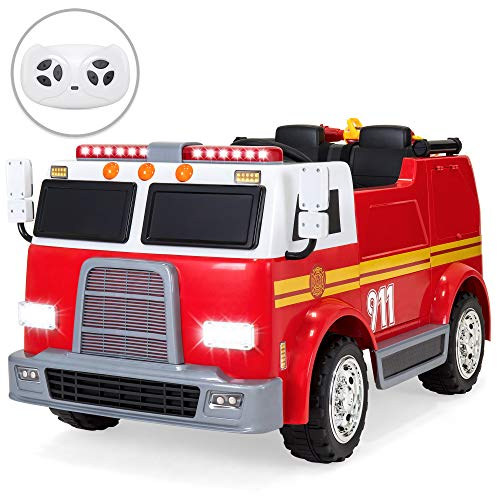 Best Choice Products 12V 2.4MPH 2-Speed Kids Fire Truck Ride On Toy w/ Remote Control, USB, Water Hose, Lights, -