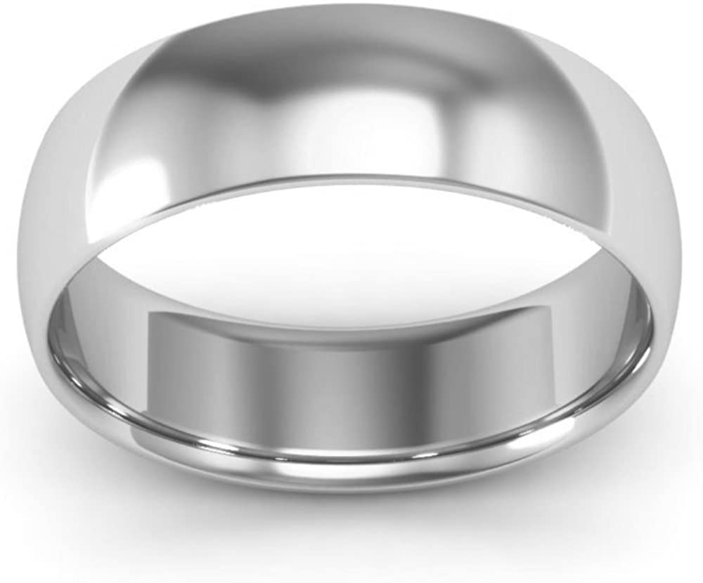 10K White Gold mens and womens plain wedding bands 6mm comfort-fit light