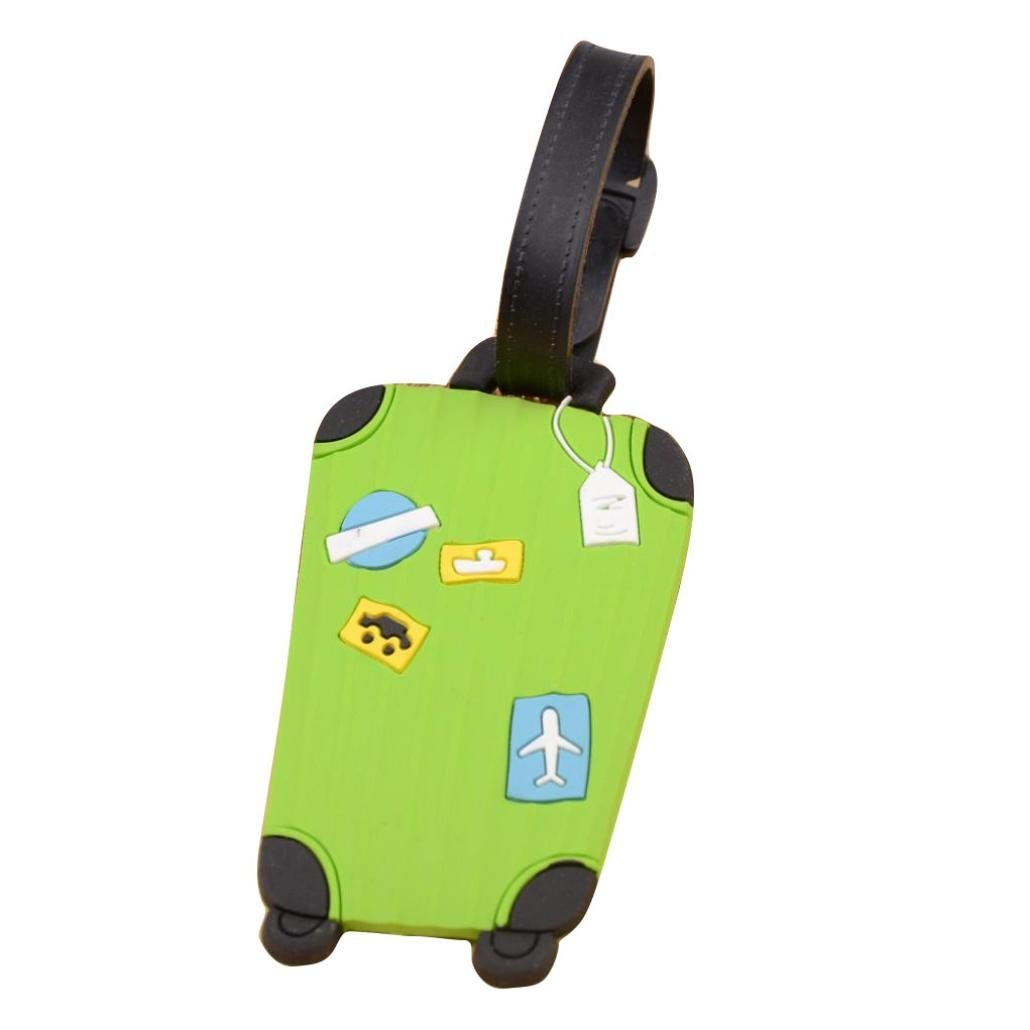 Fullkang Cute Cartoon Suitcase Luggage Tags ID Address Holder Silicone Identifier Label (Green)