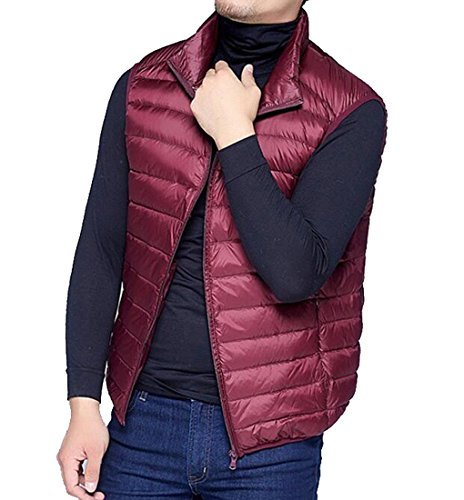 Vest Mens Down Lightweight Wine Size Red MK988 Packable Puffer Sleeveless Winter Plus zqndF