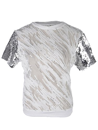 Anna Kaci S/M Fit Milky White Sheer Silver Sequined Short Sleeve Party Top - Sequined Sheer