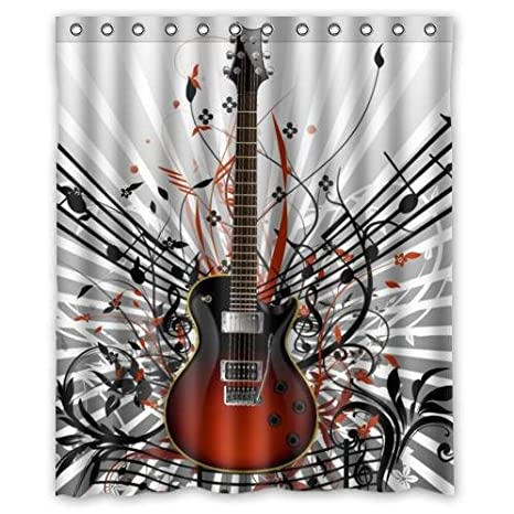 Amazon Fashionable Guitar Music Notes Waterproof Bathroom DecorPolyester Fabric Shower Curtains60w X 72h Clothing