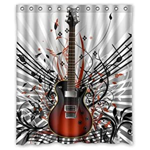 Charming Fashionable Guitar Music Notes Waterproof Bathroom Decor,Polyester Fabric  Shower Curtains,60(w) X 72(h)