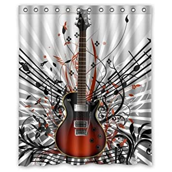 Fashionable Guitar Music Notes Waterproof Bathroom Decor,Polyester Fabric Shower  Curtains,60(w