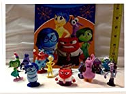 Disney Inside Out Movie Figure Set of 12 Cake/Cupcake Toppers with Joy, Fear, Anger, Disgust, Sadness, Bing Bong, Rainbow Unicorn, Jangles the Clown and More