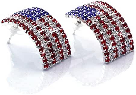 cocojewelry USA American Flag Patriotic Red Blue Rectangle Stud Earrings Jewelry