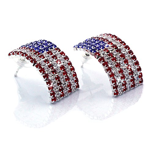cocojewelry USA American Flag Patriotic Red Blue Rectangle Stud Earrings Jewelry (Silver-tone)