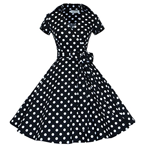 Maggie Tang 50 60s Vintage Swing Rockabilly Party Dress Black with White Dots S]()
