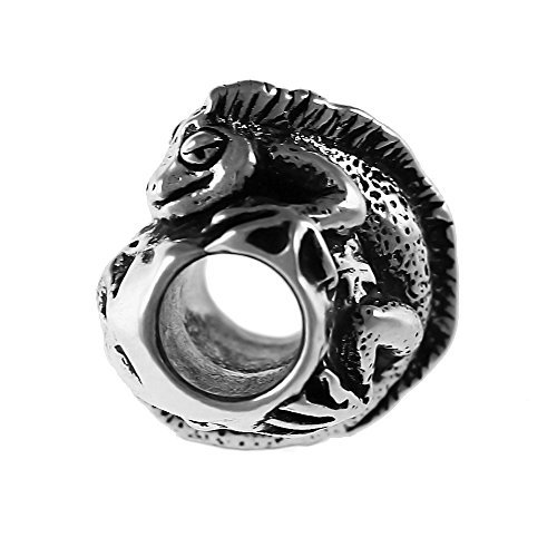 Detailed Iguana Handmade Sterling Silver Large Hole Charm Bead